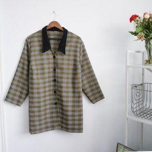 Plaid Velvet Collar Button Up Over Coat